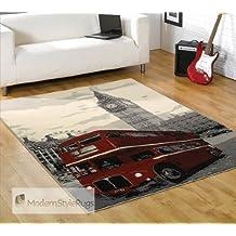 Retro Alfombra Con Rojo Autobús Londres Diseño - Funky Diseño Moderno - alfombra Disponible en 2 Tamaños, 120 x 160cm