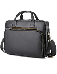 bf47ad26f3 MUXIN Cartella per Laptop Marrone da Uomo, Borsa A Tracolla per Scuola di  Lavoro,