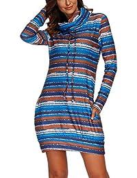 723ea56f8 OUFour Primavera y Otoño Mujeres Largo Sudaderas Top Manga Larga Sweatshirt  Sweater Jerséis Túnicas Moda Rayas Patchwork Vestido de…