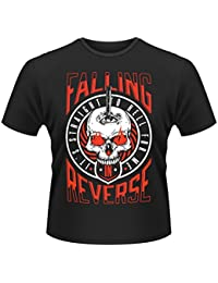 Plastic Head Men's Falling In Reverse Straight To Hell Banded Collar Short Sleeve T-Shirt