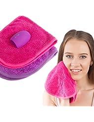 Chiffon pour maquillage (Lot de 2) avec un nettoyant pour pinceau de maquillage Lingettes. Make Up Off pour nettoyer Transparent Peau. Chiffons nettoyant visage. naturelle et simple à utiliser - Idée Cadeau
