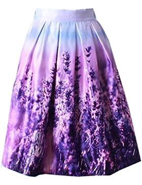 Sunnyshopday Estampado Floral Azul de Cintura Alta 50s Dulce Partido Acampanado Plisado Oscilación Falda de Mujer