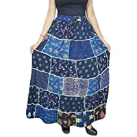 Mogul Interior Women Maxi Skirt Blue Printed Patchwork Hippie Chic Long Skirts SM