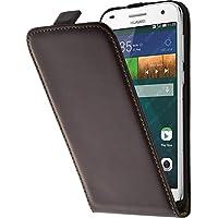 PhoneNatic Lederhülle für Huawei Ascend G7 Flip-Case braun + 2 Schutzfolien
