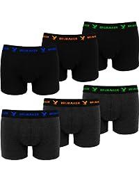 BRUBAKER Boxer rétro - Lot de 6 - Homme - Noir / Gris foncé avec Logos contrastés