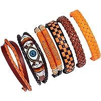 Doitsa 6pcs/pijama Unisex pulseras de piel tejida pulseras, multicolor longitud ajustable pulseras DIY tejeduría Vintage hechos a mano deporte y de loisirs Size 17–18cm (Type-1)