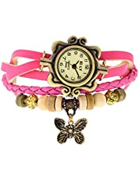 MVS Butterfly Pendant Leather Bracelet Watch - Analog Display - Off White Dial - For Women