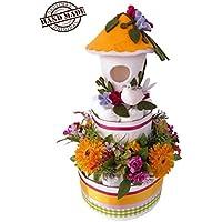 Torta di 20 pannolini Pampers, tg. 3, 4-9kg, con fiori artificiali e casetta in feltro