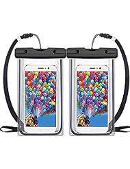 Pochette Étanche [Certifié IPX8] [2 Packs] VersionTech Waterproof / Imperméable, Sac/Housse Étanche Universel pour iPhone 7 / 7Plus / 6s / 6 Plus / SE / 5s / 5 / 5c, Galaxy S7/S6 / S5, Huawei, jusqu'à 6 pouces