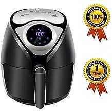 Friteuse Electrique Sans Huile à Air Chaude - KitchCater - 2.6 L 1300 W Friteuse Numérique - Noir Minuteur et Thermostat Réglables pour Faible en Calories Sans BPA Version LED avec Recettes