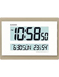RELOJ DIGITAL PARED CASIO ID-17-9DF CALENDARIO TEMPERATURA HUMEDAD COLOR BLANCO BISEL DORADO 26 CM X 18.5 CM