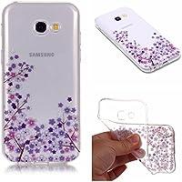 QFUN Funda Samsung Galaxy A5 2017 (A520) Silicona Transparente, Suave Carcasa Flexible con Dibujos [Flor de Cerezo Morado] Slim Fina Gel Case Anti-Arañazos Antigolpes Cubierta