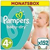 Pampers Baby Dry Windeln Gr. 4+ (9-18 kg), 1er Pack (1 x 152 Stück)
