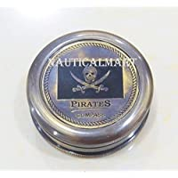 "NauticalMart Pirates Sparrow 2"" Pocket - Antique Brass Compass W/Leather Case"