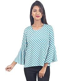 d51bf9d409c40 Secret Bazaar Women s Ployester Striped Printed Blouson Top(Multicolor)