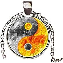 Ying Yang sol y luna colgante collar vintage cadena gargantilla declaración collar joyería
