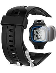 Garmin Forerunner 10 15 Banda (pantalla pequeña de 2,5 cm) con protector de pantalla, TUSITA reemplazo de silicona suave pulsera brazalete deportivo WristBand accesorio para Garmin Watch (NEGRO)