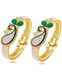 JSD Traditional Wedding Gold-Plated Bangles Bracelets Set For Women And Gilrs