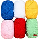 Vardhman Bunny Mix 4 no. (6 pc Pack) Wool Ball Hand Knitting Wool/Art Craft Soft Fingering Crochet Hook Yarn, Needle Acrylic Knitting Yarn Thread Dyed