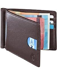 79afe995de1d7 Echtleder Portemonnaie mit Geldklammer für Herren. Geldbörse mit  RFID-Blocker