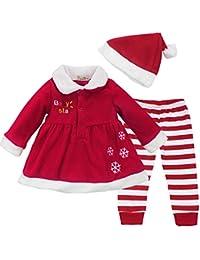 IINIIM Noël Costume Tenus Robe Avec chapeau Bébé Fille Haut et pantalons Vêtement Ensembles 9-24 Mois