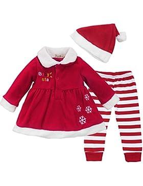 Tiaobug Baby Mädchen Weihnachtskostüm - Weihnachten Kleidung im Set Warm Langarm Weihnachten Kleid Hose mit Weihnachtsmütze