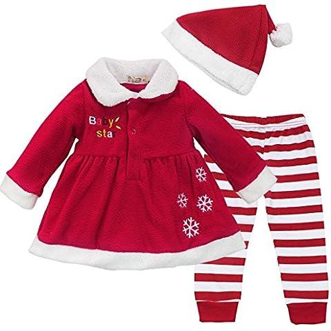 FEESHOW Tops Vestido De La Niña De Navidad + Pantalones A Rayas + Hat Arropa Sistemas Traje SZ 9-24 Meses