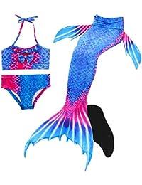 Définit Traje de Baño Niña Cola de Sirena Mermaid Bikin Maillots de Baño Conjuntos, Set 4 Piezas