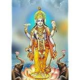 SAMRIDDHI Vinyl Premium Quality Gloss Laminated Poster Lord Vishnu For Living Room
