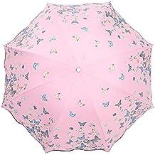 Lirener Paraguas de Cambio de Color(Mariposa), Paraguas Plegable para Viaje con 8