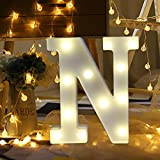 Transer Alphabet LED Letter Lights, LED Marquee Warm White Light Up Letters Sign For Wedding Birthday Home Party Bar Decoration Night Light Lamp (N)