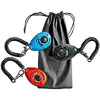 Rocita - Set de clicker para Entrenamiento de Perros con Correa para la muñeca - Set de Entrenamiento para Mascotas para Perro, Gato (3 Colores nuevos + 1 Bolsa de Tratamiento para Perros)
