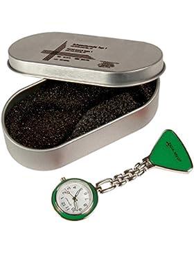 Schwesternuhr Tiga Med Typ 1 grün 1 Stück Pulsuhr mit Batterie in Geschenkdose Krankenschwester Uhr Clip