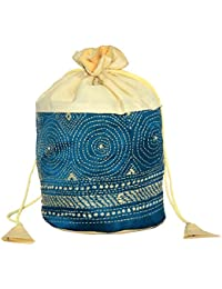 Potli Bag / Botua / Party Clutch With Hand Embroidery In Silk Fabric ( White, Blue)