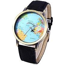 Leopard Shop-Mappa del mondo, al quarzo, con cinturino in pelle, quadrante nero