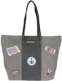 Mevina Damen Tasche mit Patches Beuteltasche Shopper Beutel Henkeltasche 48x35x18 cm (B x H x T)