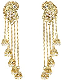 Dhyey Creations Gold Plated Pearl Jhumki Earrings For Women