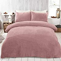 Brentfords Teddy Fleece Duvet Cover with Pillow Case Thermal Fluffy Warm Soft Bedding Set, Blush Pink - Double