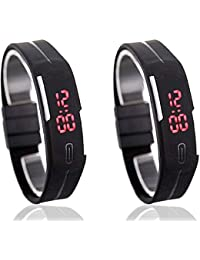 Xurious Enterprise Led Black Rectangle Dial Rubber Strap Casual Watch For Boys And Men (Combo Of 2 Watches)