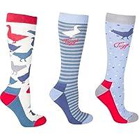 Toggi Women's Zarina Bird Design Socks (Pack of 3), Blue, Size 4-8