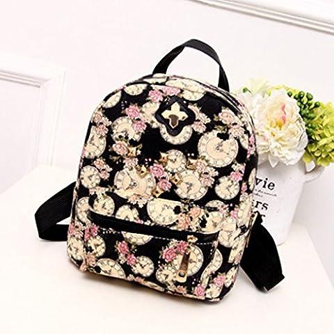 Vollter Las mujeres del reloj Mochila de lona de la impresión flores Compras Viajes mochilas al aire libre