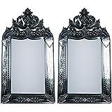 MADHUSUDAN GLASS WORKS Mirror & Plywood Wall Mirror (Pack Of 2, Silver) - B07BJ4J5BX
