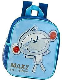 Preisvergleich für Kinderrucksack - Max the Monkey - 413 Mini Kinder Rucksack mit Brustgurt Adressfach Kindergartentasche