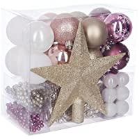 Lot déco Noël - Kit 44 pièces pour décoration sapin : Guirlandes, Boules et Cimier - Thème couleur : Blanc, Or, Rose et Lie de vin