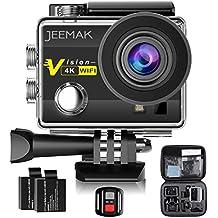 JEEMAK 4K Cámara Deportiva Impermeable 16MP Wifi Cámara de Acción con control remoto 2.4G. Pantalla LCD 2 Pulgadas. Angulo de visión 170º. Incluye 2 baterias, kit de accesorios y maletín de transporte.