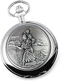 De Walden Boy's Christening Gift, Engraved St Christopher Pocket Watch in a Gift Box