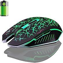 Malloom 2.4GHz inalámbrico 7 recargable 2400DPI 6 botones Optical Usb Gaming ratón (verde)