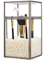 PuTwo Rangement Maquillage Pour Pinceux Organisateur Maquillage Style Classique Motif Dentelle Avec des Perles Blancs Graduites - Grand