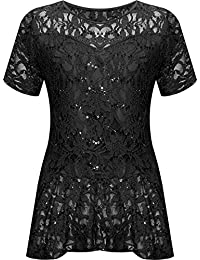 WearAll Plus Size Womens Lace Sequin Ladies Short Sleeve Peplum Frill Top -  14-28 289ced300963