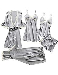 a6b018b37d Proumy Conjunto de Pijamas Mujer 5 Piezas Kimono Larga Pijama de Encaje  Verano Batas con Calzoncillos